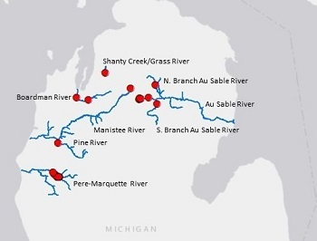 Map of northern Michigan marking rivers infested with New Zealand mudsnails